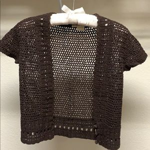 MICHAEL Michael Kors Brown Crochet Shrugs Bolero M